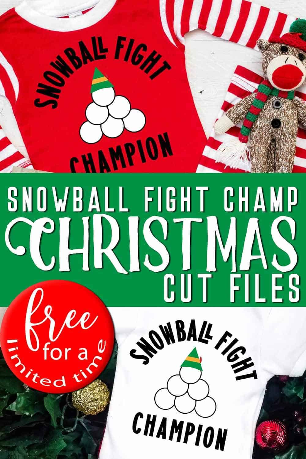 photo collage of snowball fight champion free christmas cut files for cricut or silhouette with text which reads snowball fight champ christmas cut files free for a limited time