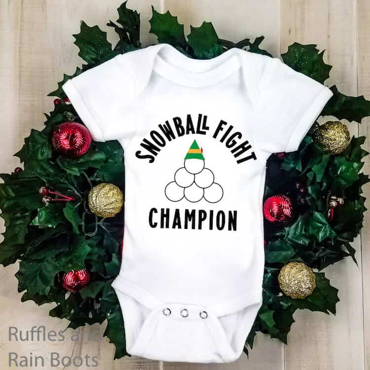 Snowball Fight Champ free holiday SVG on Baby Onesie
