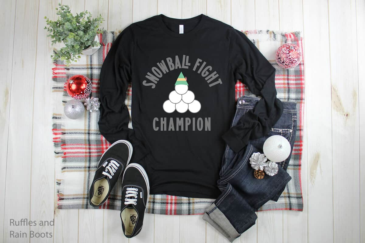Snowball Fight Champ free christmas cut file for cricut and silhouette on Black tshirt