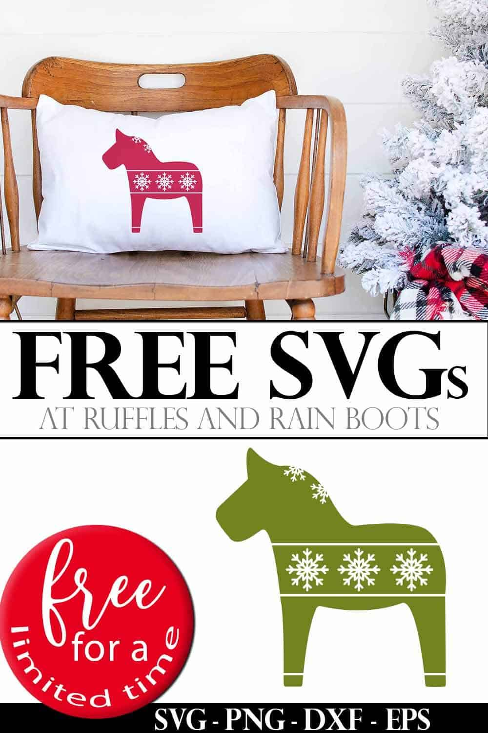 photo collage of scandinavian dala horse free cut files for cricut or silhouette with text which reads free svgs free for a limited time