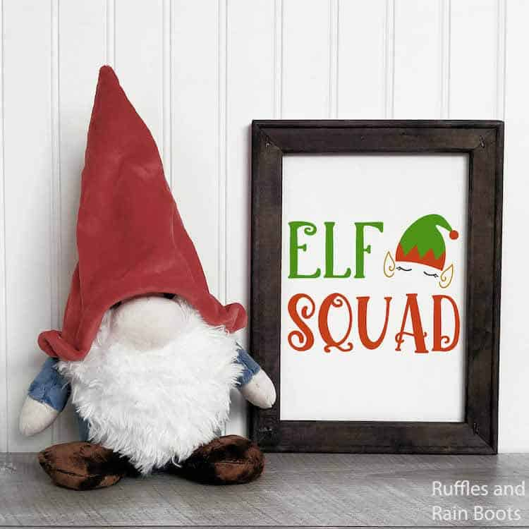 elf squad free Christmas cut file for Cricut or Silhouette on wall art with gnome