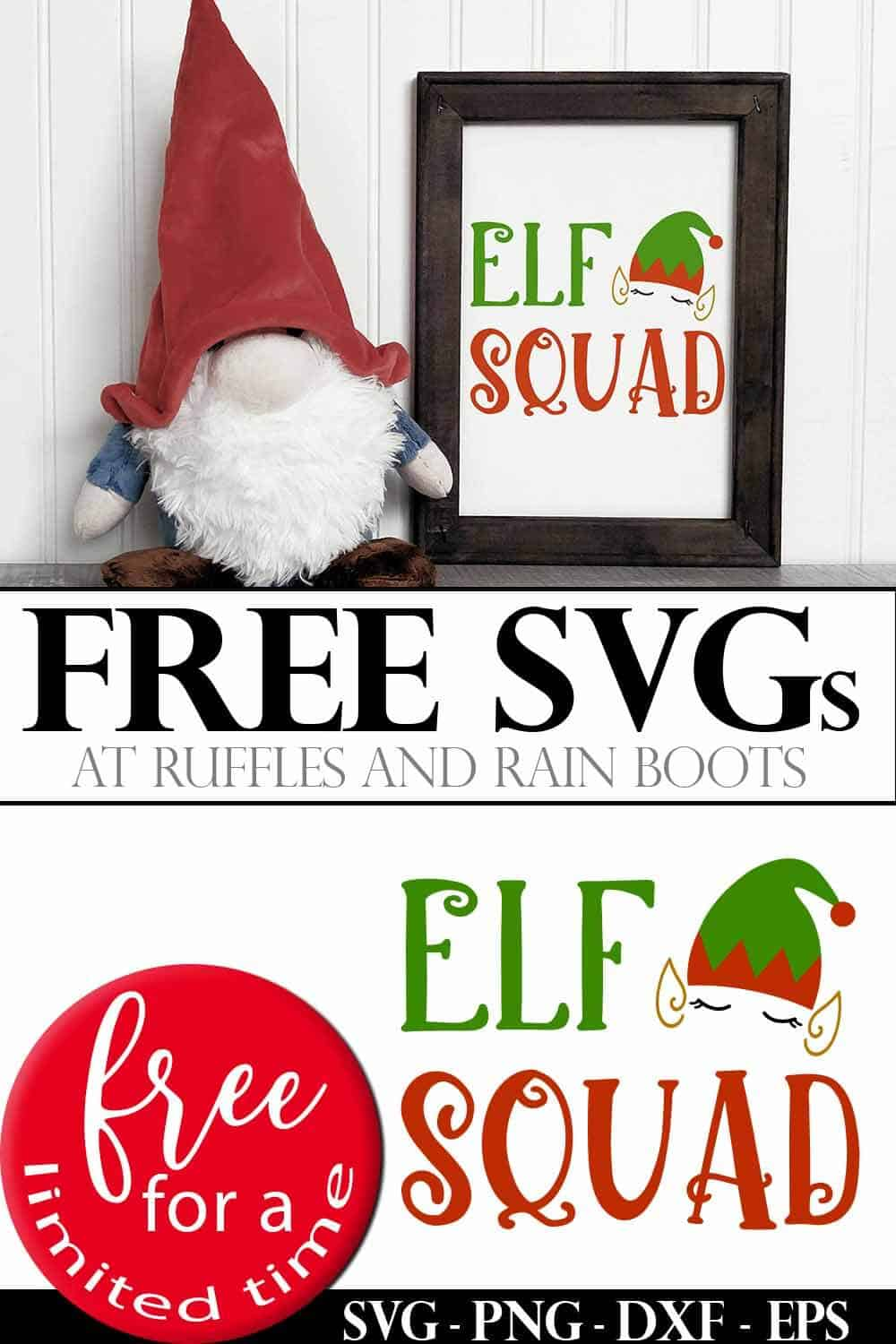 photo collage of free holiday SVG elf set with text which reads elf squad free svgs free for a limited time