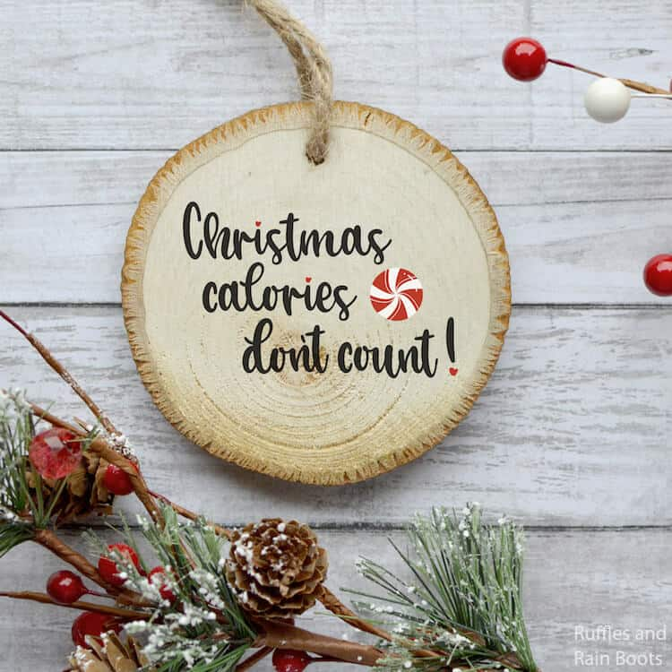 christmas calories free holiday SVG on wood ornament