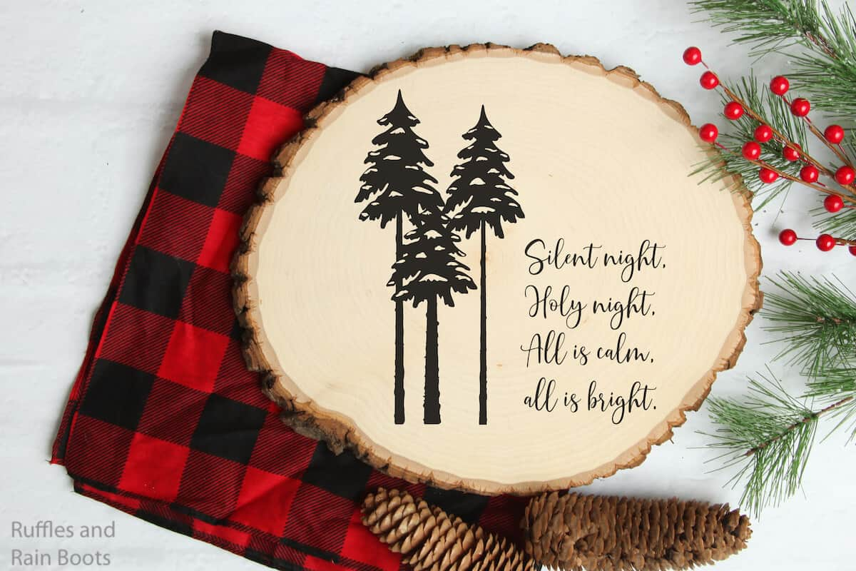 silent night Christmas free cut file on wood round sign