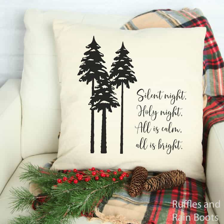 silent night holiday free cut file on a pillow