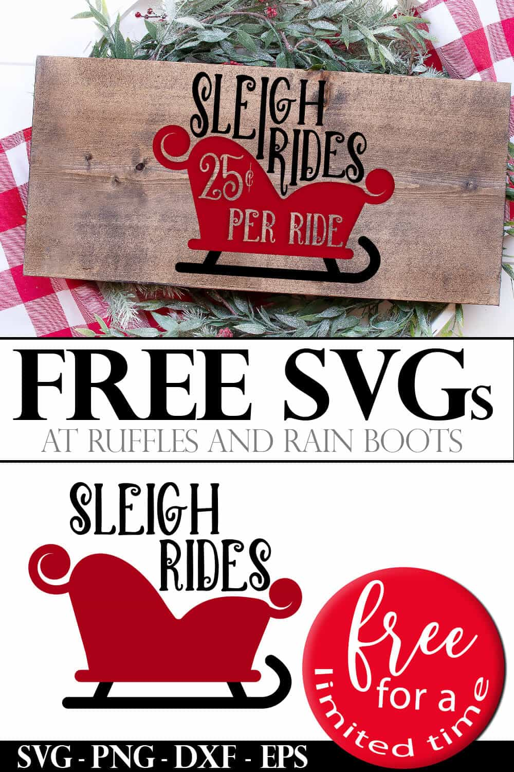 photo collage of sleigh rides free Christmas SVG with text which reads free svgs free for a limited time