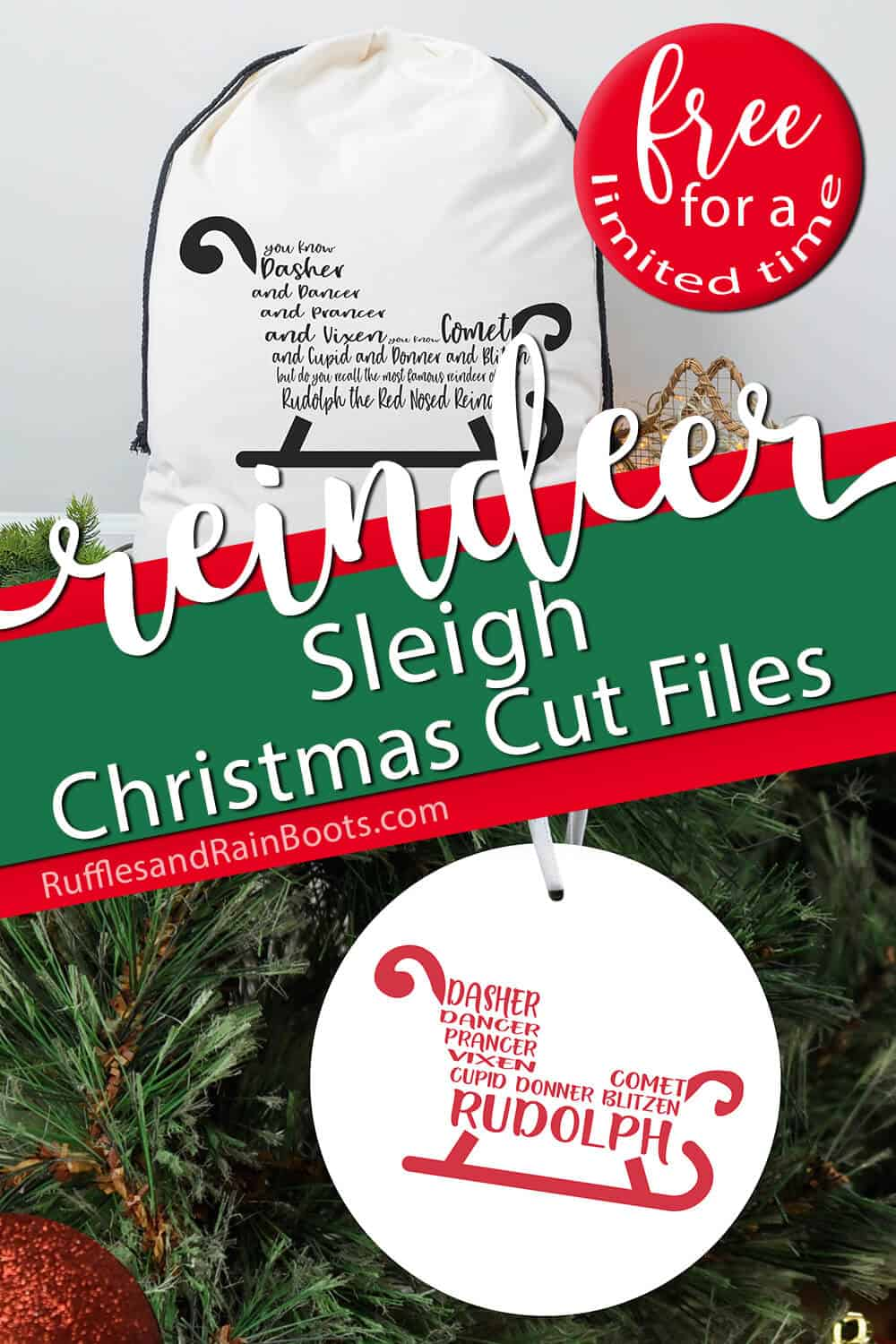 photo collage of rudolph song lyrics free holiday cut files with text which reads reindeer sleigh christmas cut files free for a limited time