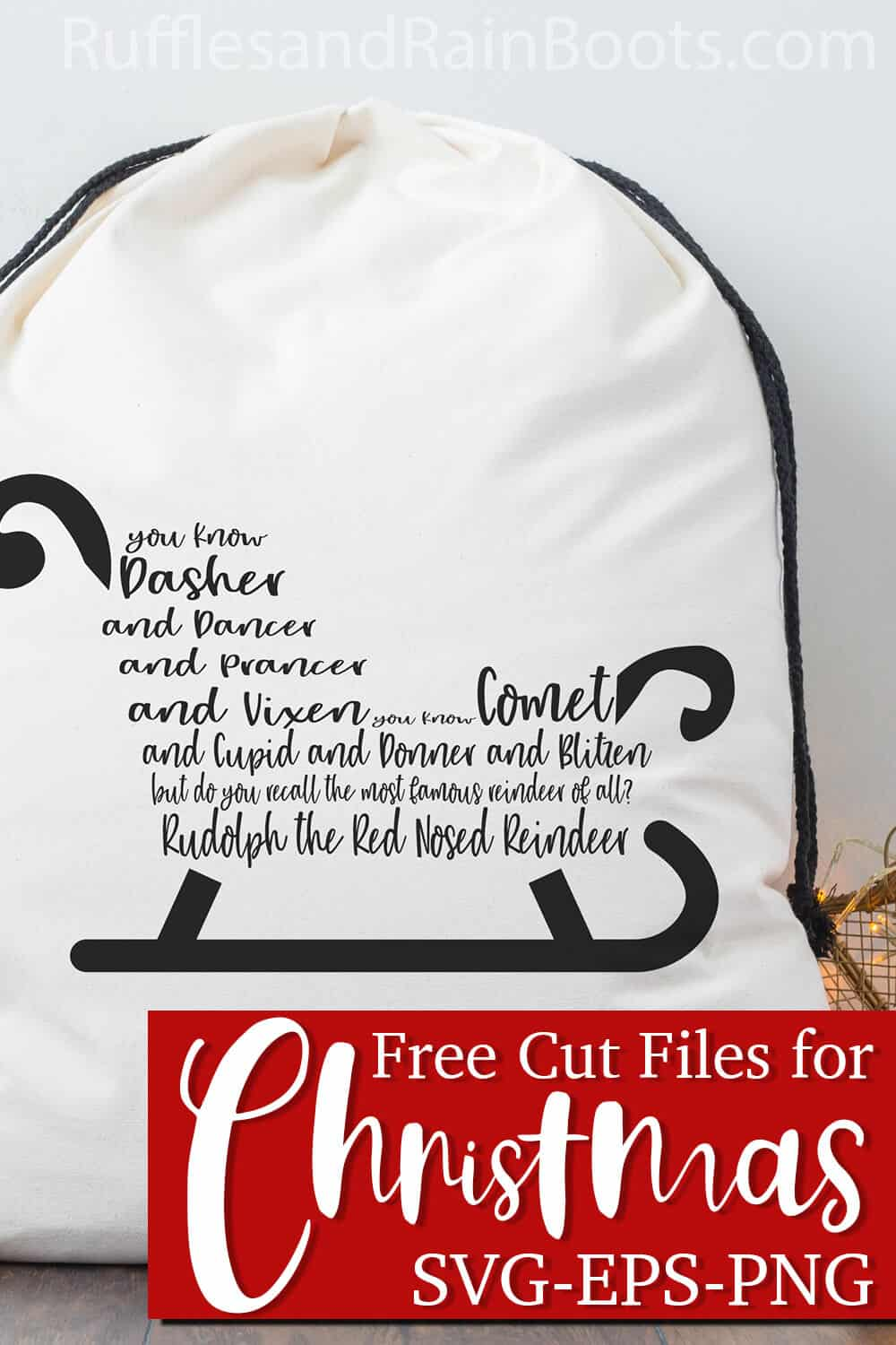 large gift bag for Christmas with a holiday cut file for Cricut or Silhouette with text which reads free cut files for christmas svg eps png