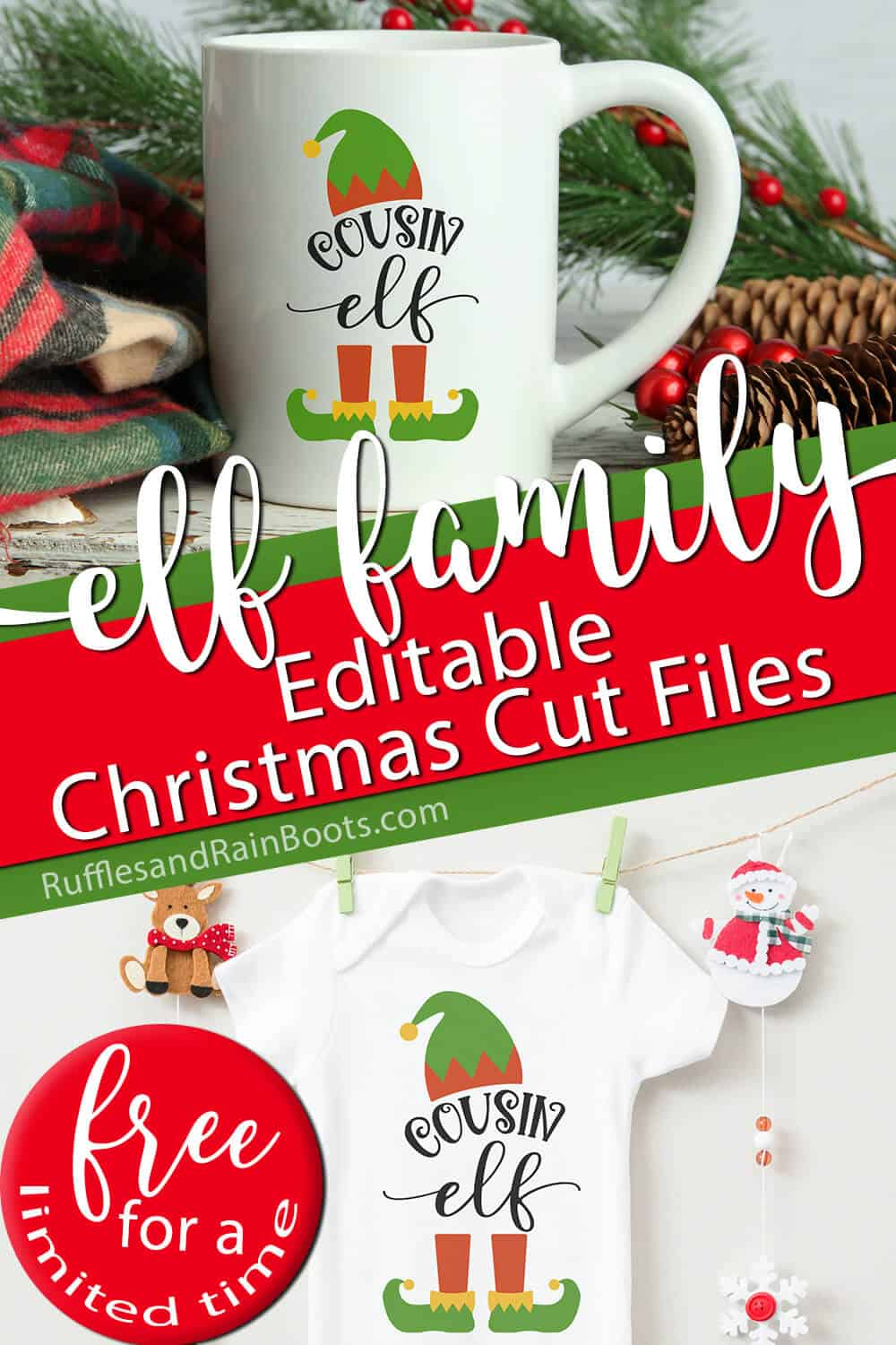 photo collage of mug and onesie with the cousin elf cut file on them with text which reads elf family editable christmas cut files