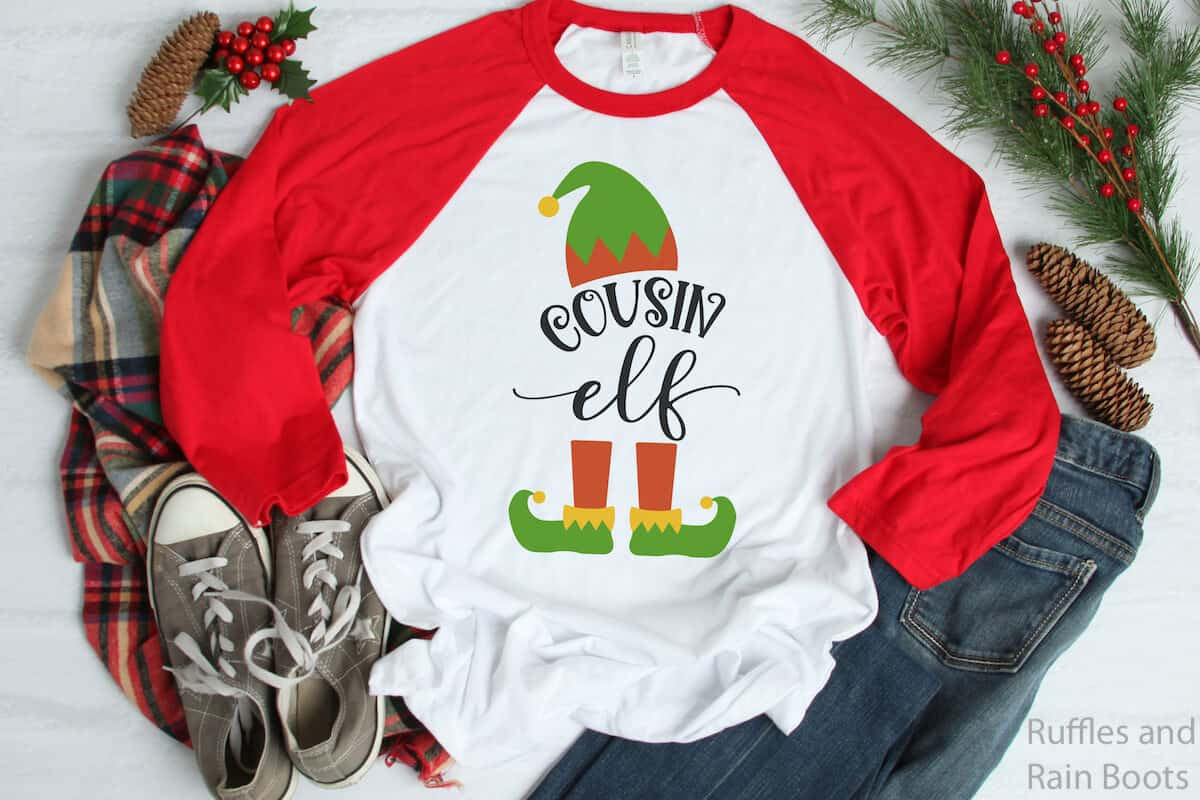 cousin elf christmas cut file for Cricut on raglan t-shirt
