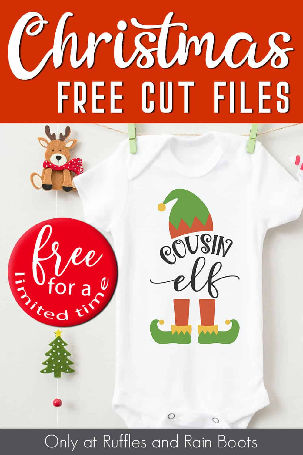 onesie with an elf cut file for Cricut with text which reads christmas free cut files free for a limited time