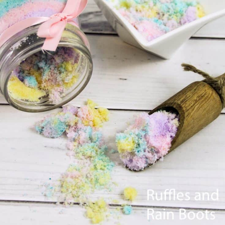 how to make a rainbow body scrub on a white wood table