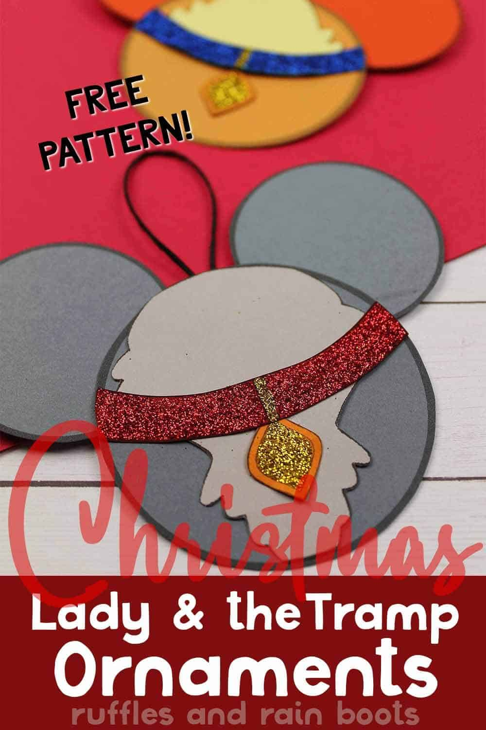 close up of door ornaments for lady and the tramp with text which reads free pattern christmas lady and the tramp ornaments