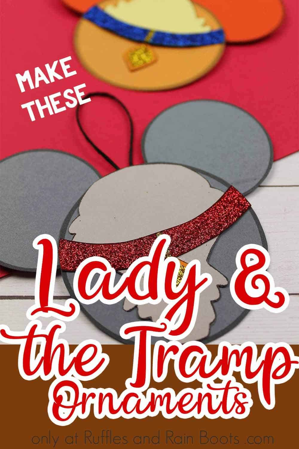 close up of christmas tree ornaments DIY lady and the tramp with text which reads lady and the tramp ornaments make these