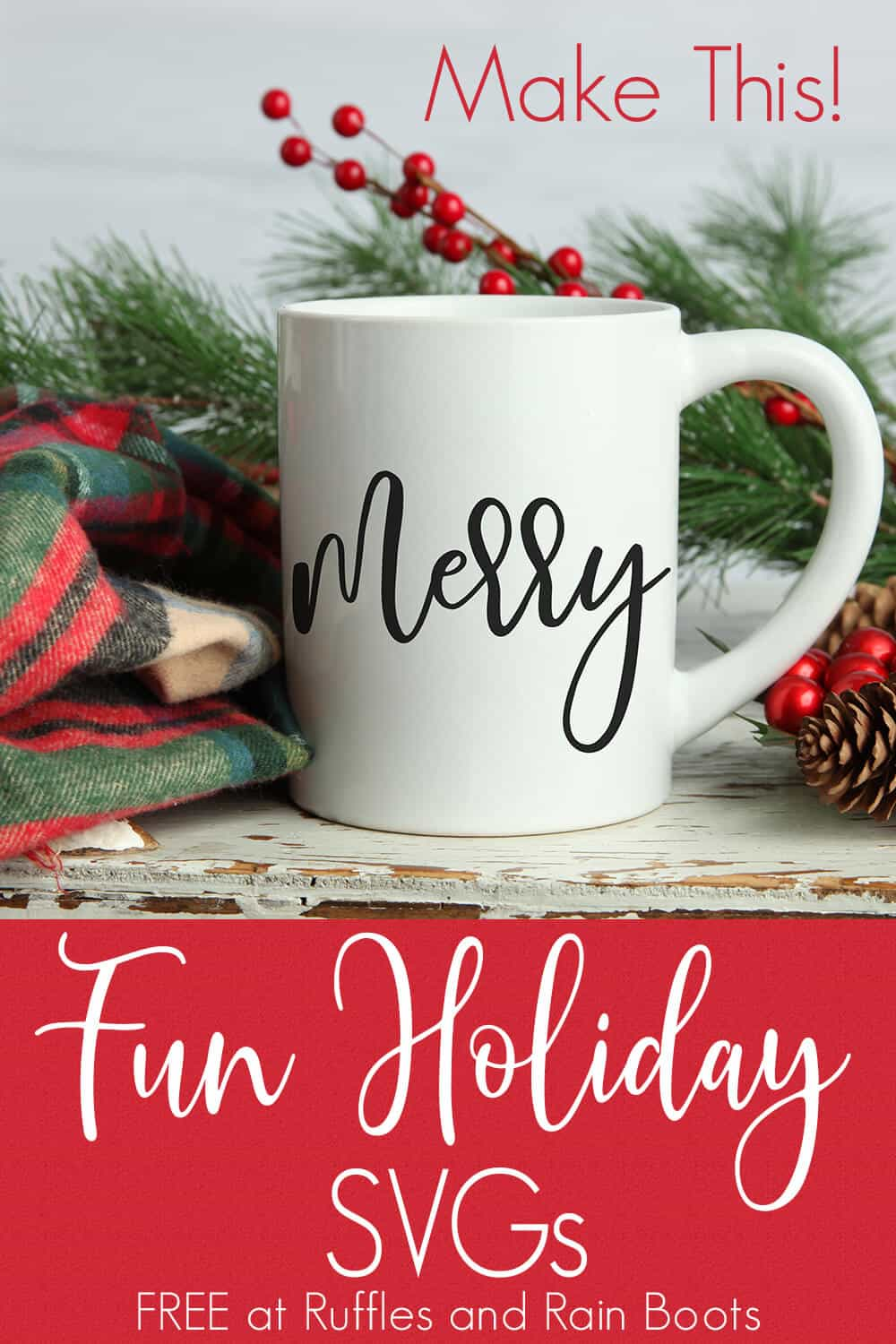 Merry free Christmas SVG on Coffee mug with text which reads fun holiday SVGs
