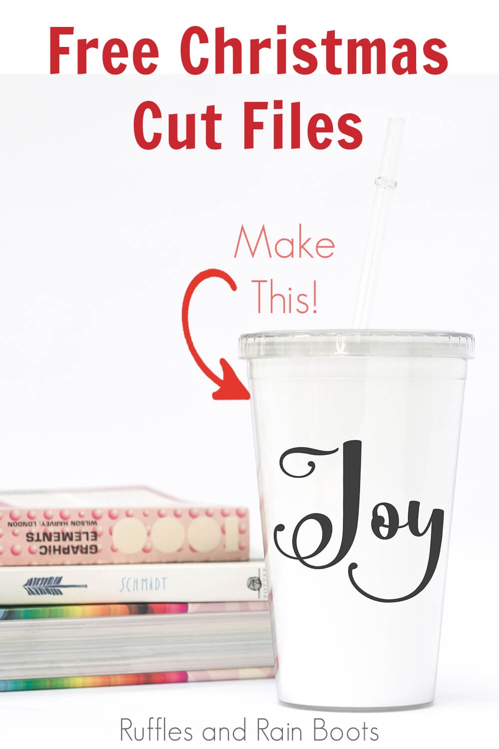 flourish script joy Christmas cut file for silhouette and Cricut on a travel cup with text which reads free christmas cut files make this