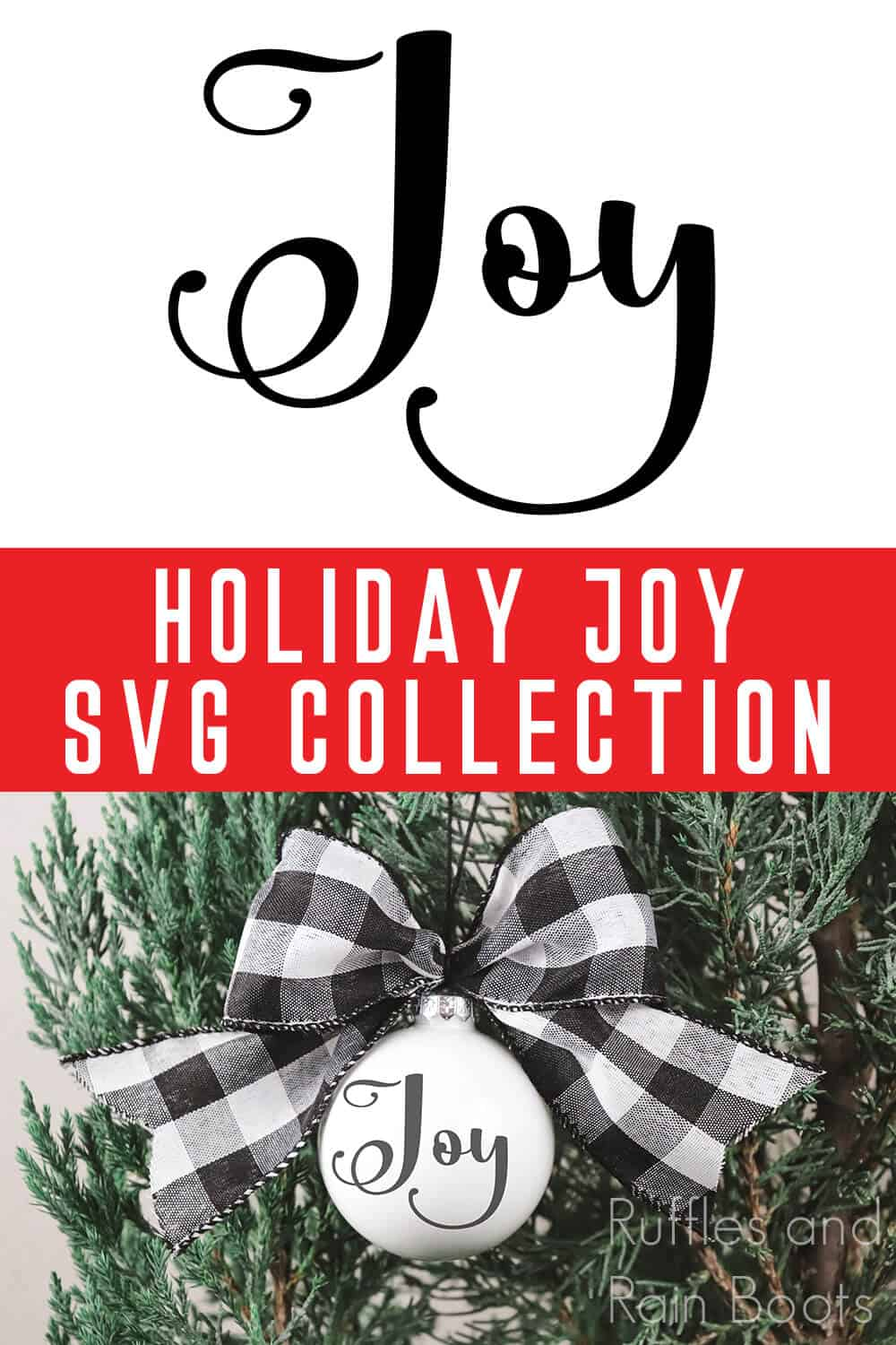photo collage of flourished joy Christmas SVG with text which reads holiday joy SVG collection