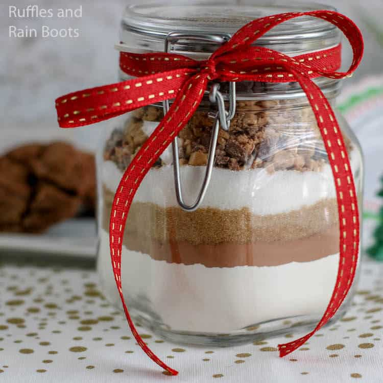 cookie ingredients gift in a jar