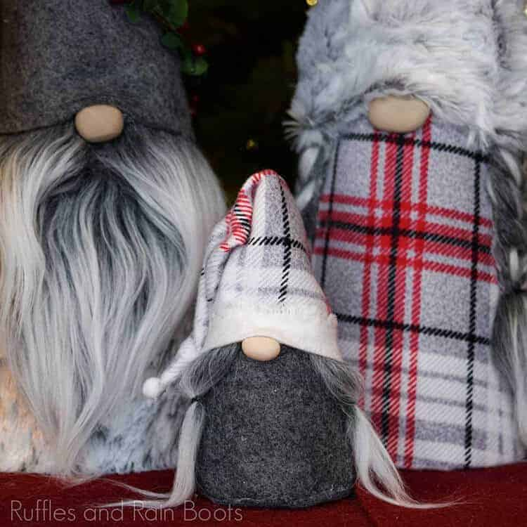 square image of cone gnome family dressed in holiday and Christmas fabrics and faux fur
