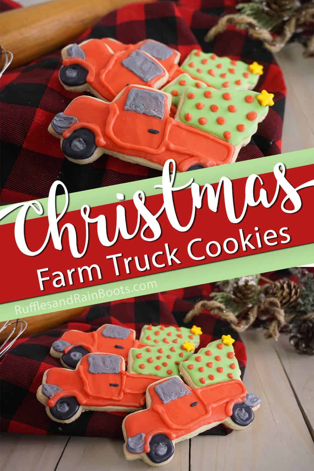 photo collage of christmas cookies with a truck with text which reads christmas farm truck cookies