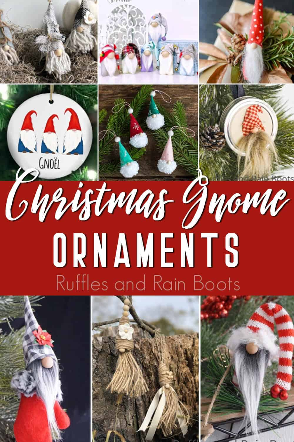 photo collage of winter gnome ornaments with text which reads Christmas gnome ornaments
