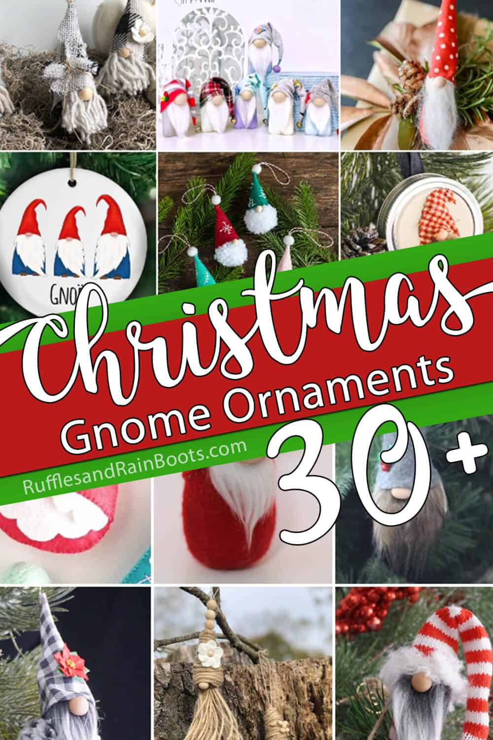 photo collage of holiday gnome ornaments with text which reads christmas gnome ornaments 30+