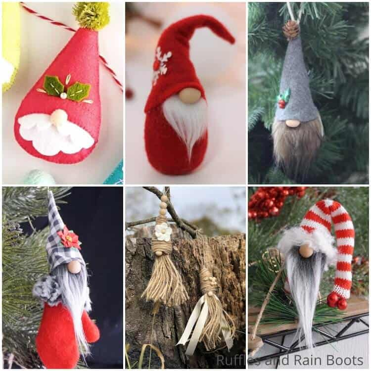 photo collage of how to make nisse ornaments for christmas
