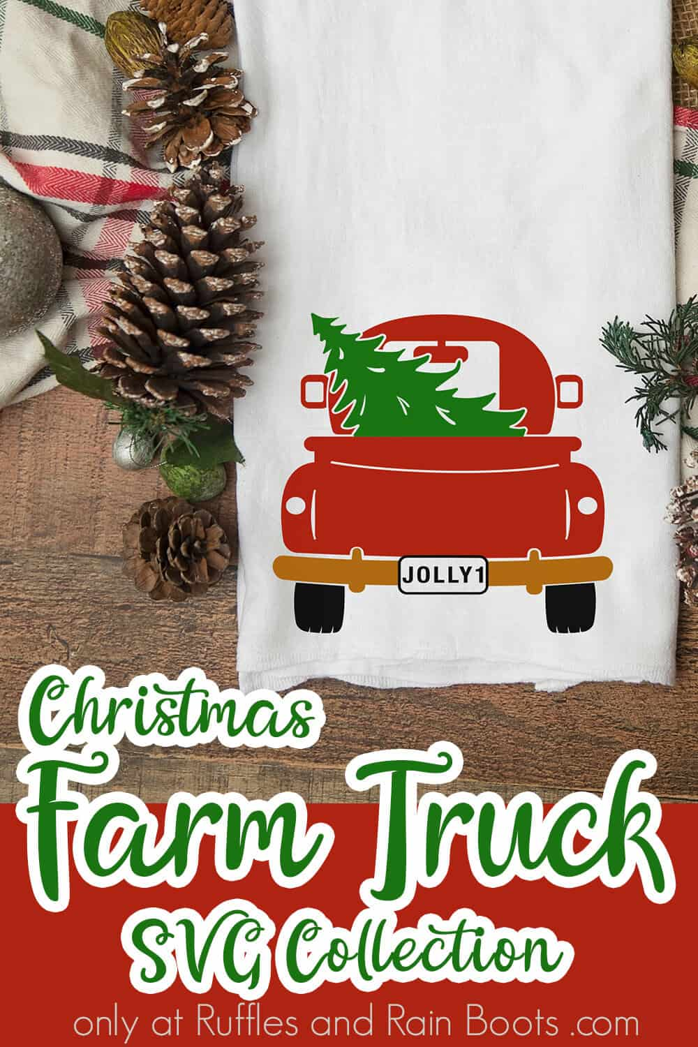 kitchen towel with christmas farmtruck SVG file with text which reads Christmas farm truck svg collection