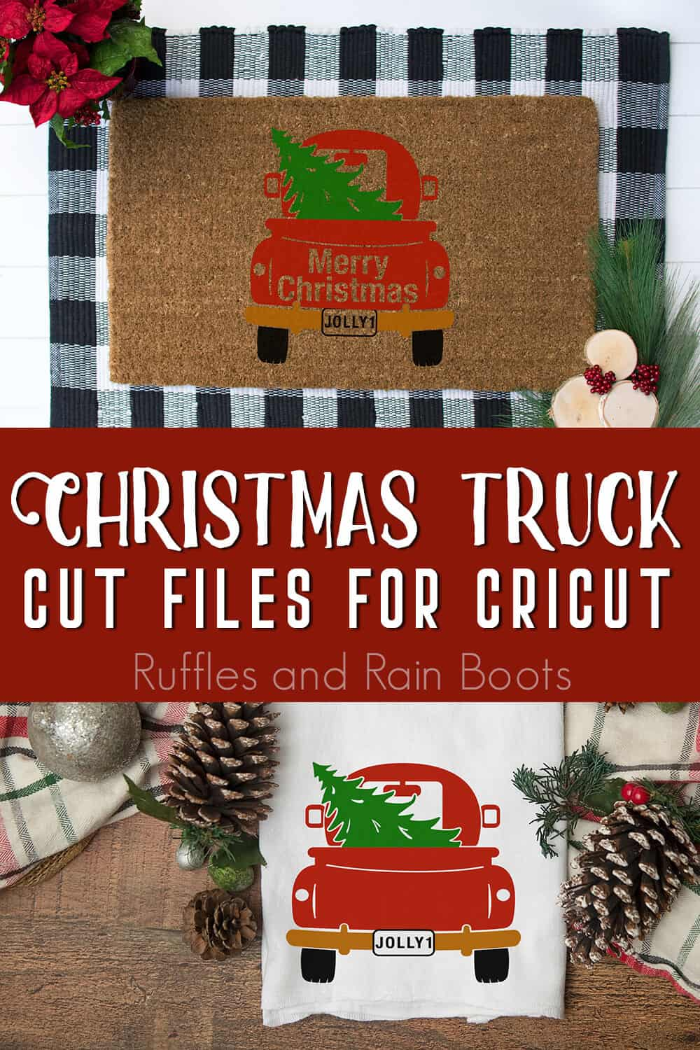 photo collage of items made using the holiday truck cut file for cricut or silhouette with text which reads christmas truck cut files for cricut
