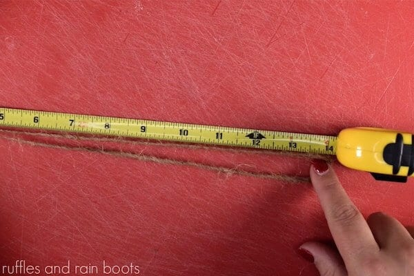 how to make a farmhouse gnome ornament step 2 28 inches of twine