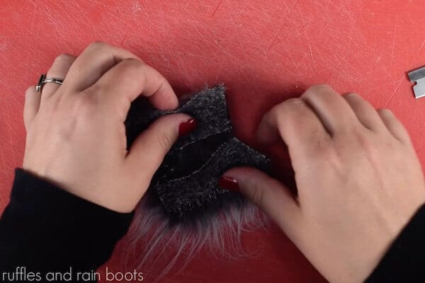 how to make a gnome ornament for a farmhouse christmas tree step 3 cut faux fur