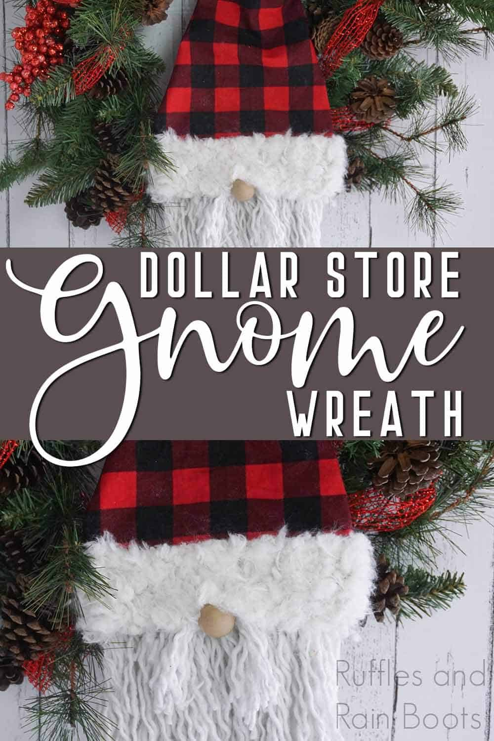 photo collage of scandinavian gnome wreath with text which reads dollar store gnome wreath with mop beard
