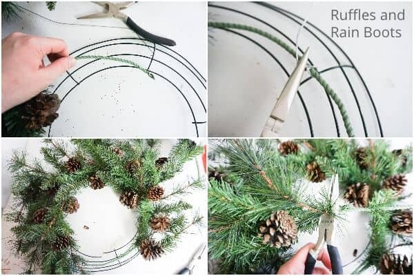 photo collage tutorial of how to make a wreath for a gnome