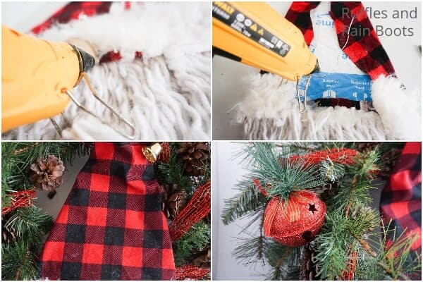 photo collage tutorial of how to make a wreath with recycled materials