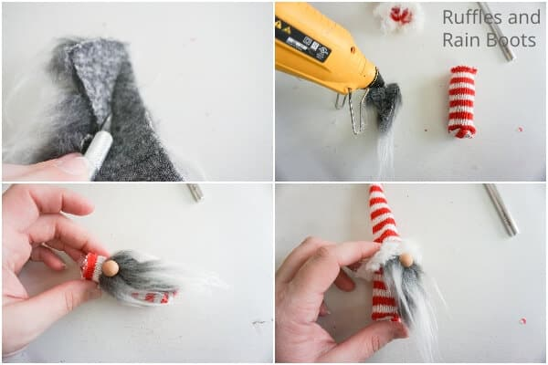 photo collage of how to make a gnome ornament with a sled