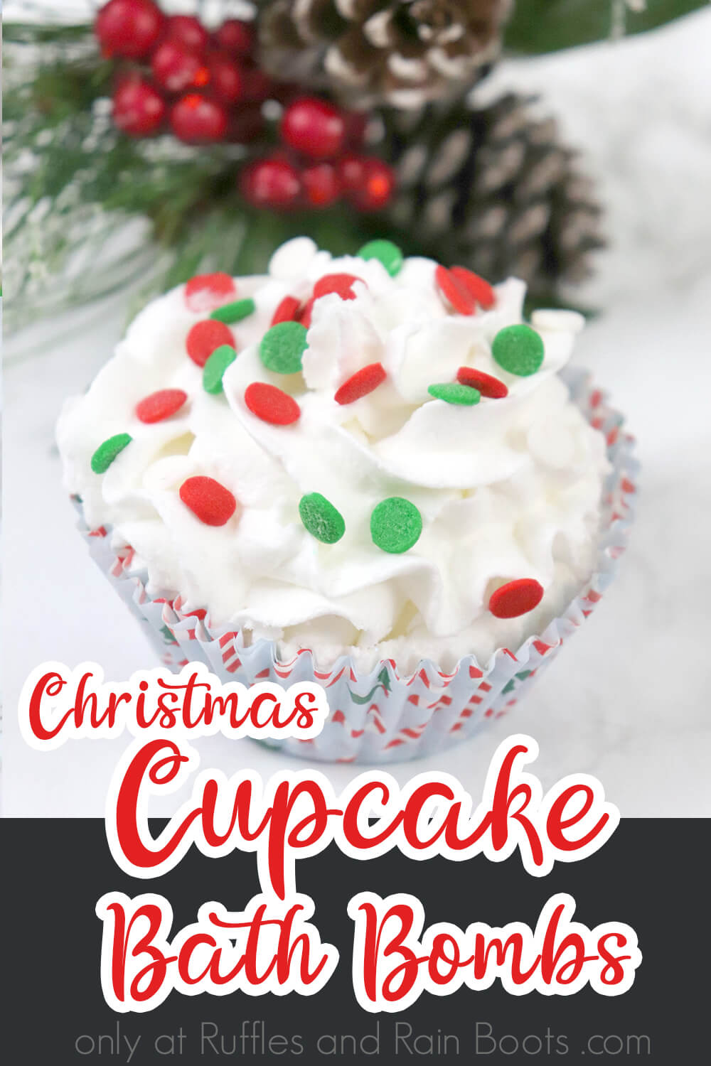 closeup of christmas bath bombs on a white background with text which reads christmas cupcake bath bombs