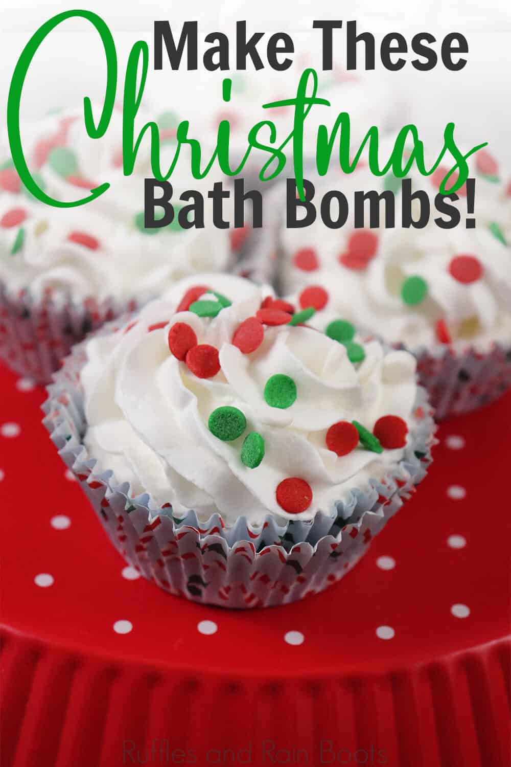 christmas cupcake bath bombs on a red background with text which reads make these christmas bath bombs
