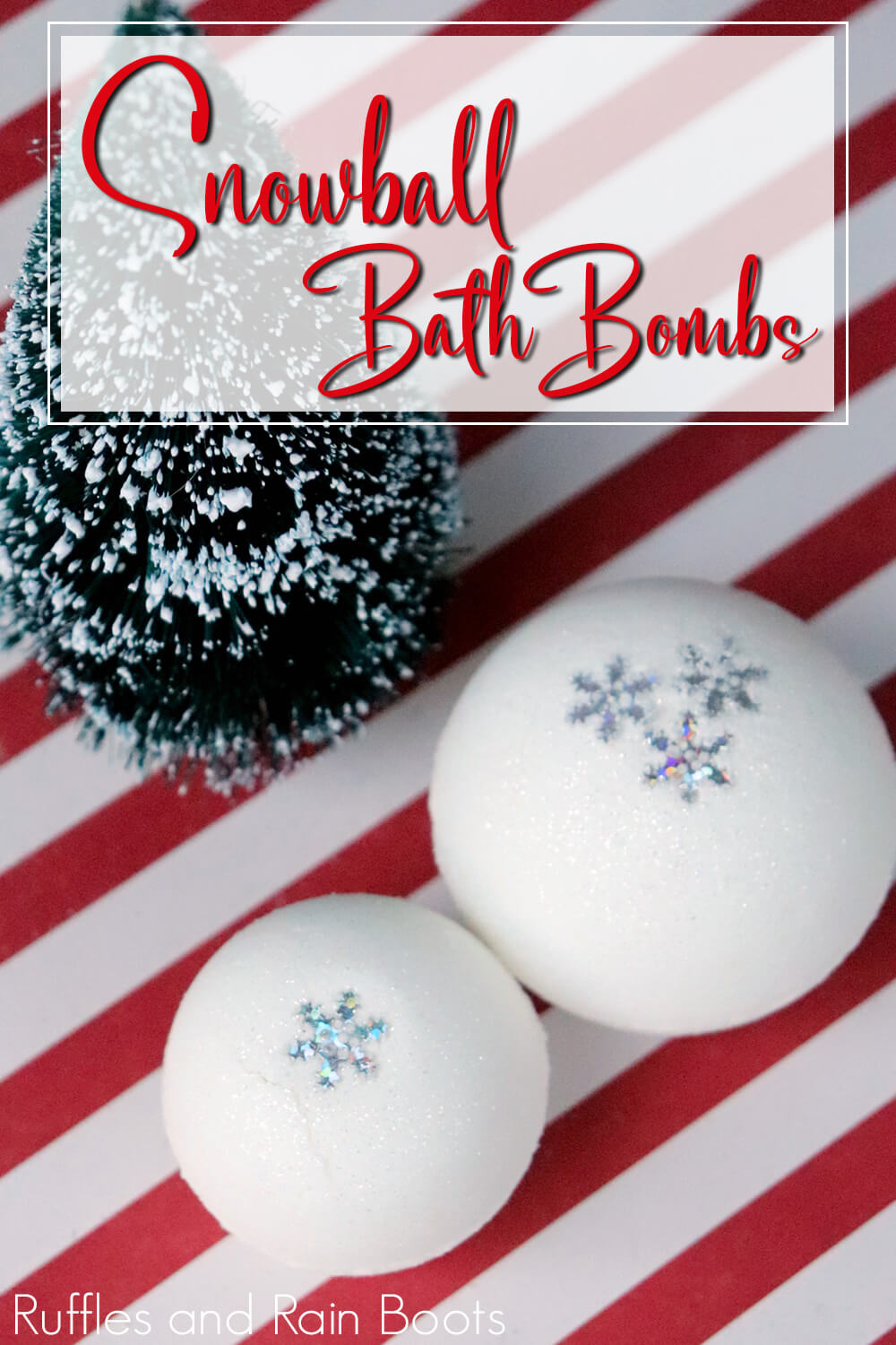two snowflake bath bombs on a red and white background with a tiny green christmas tree with text which reads snowball bath bombs recipe