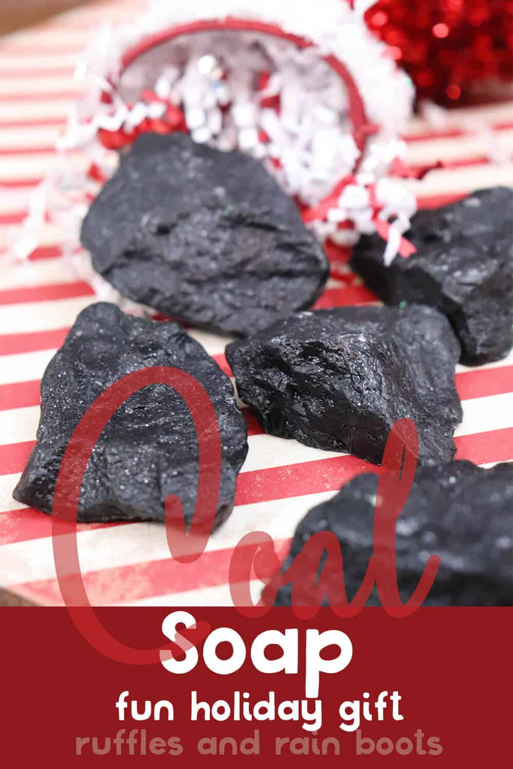 several piece of coal soaps on a red and white background with text which reads coal soap fun holiday gift