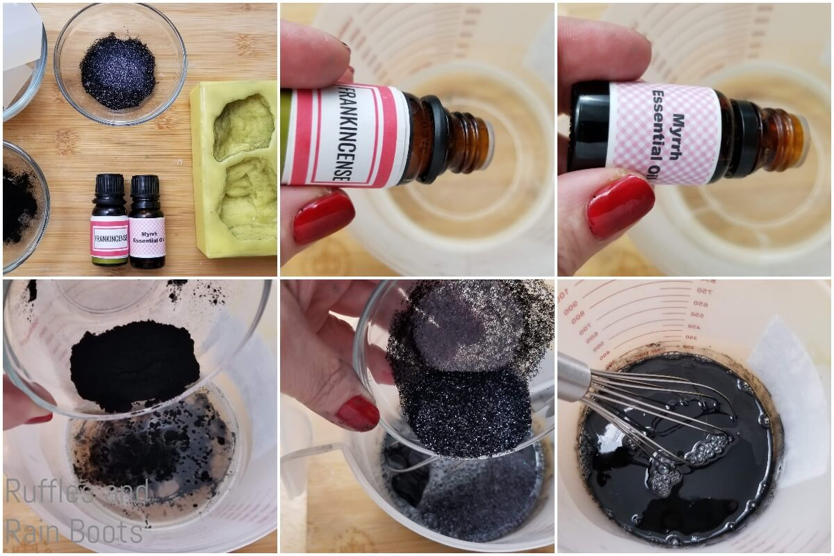photo collage tutorial of how to make coal soap for christmas