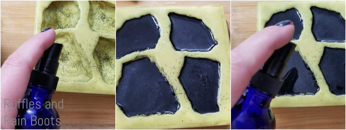 photo collage tutorial of how to make lump of coal soap for christmas