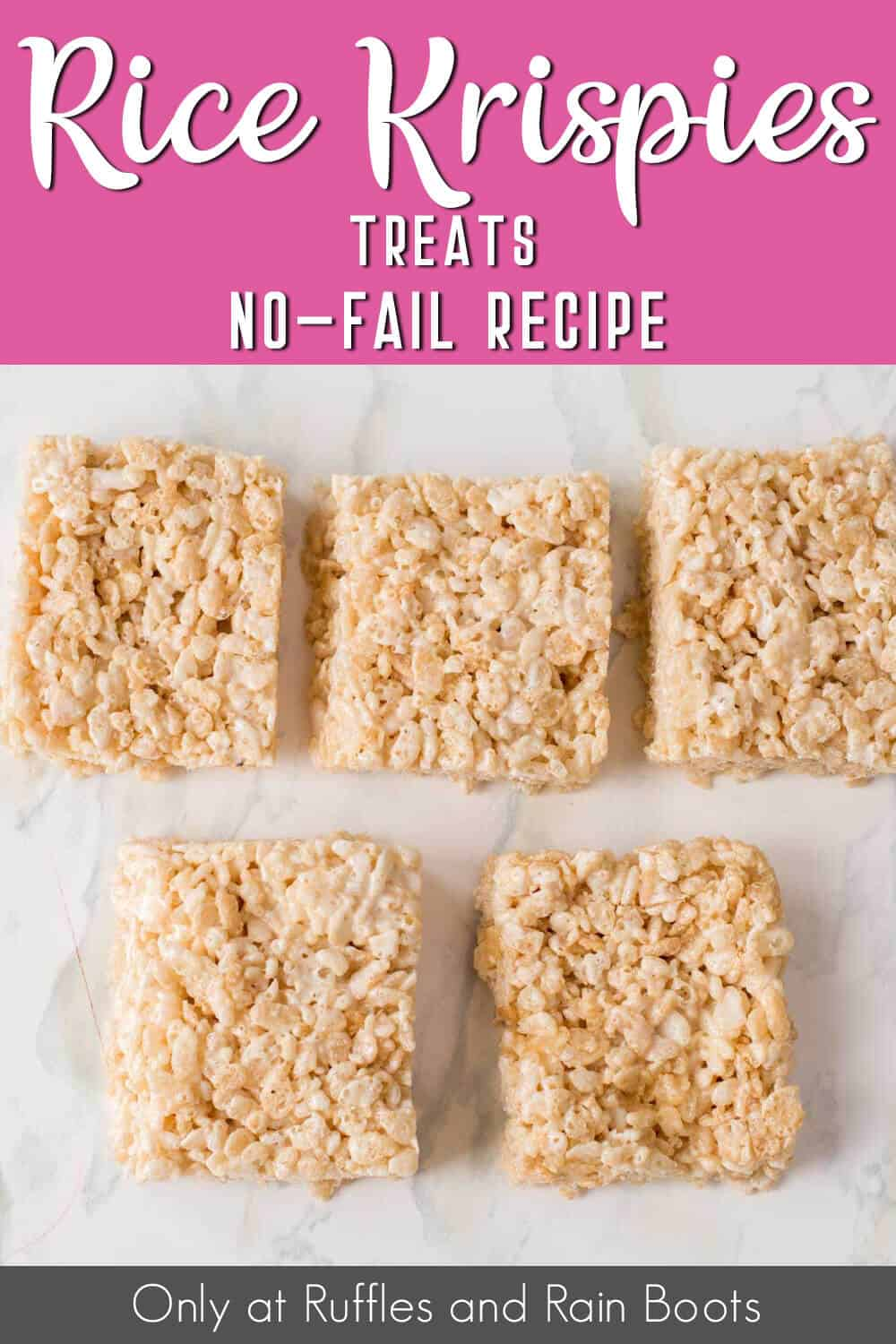 squares of rice crispies treats with text which reads rice krispies treats no-fail recipe
