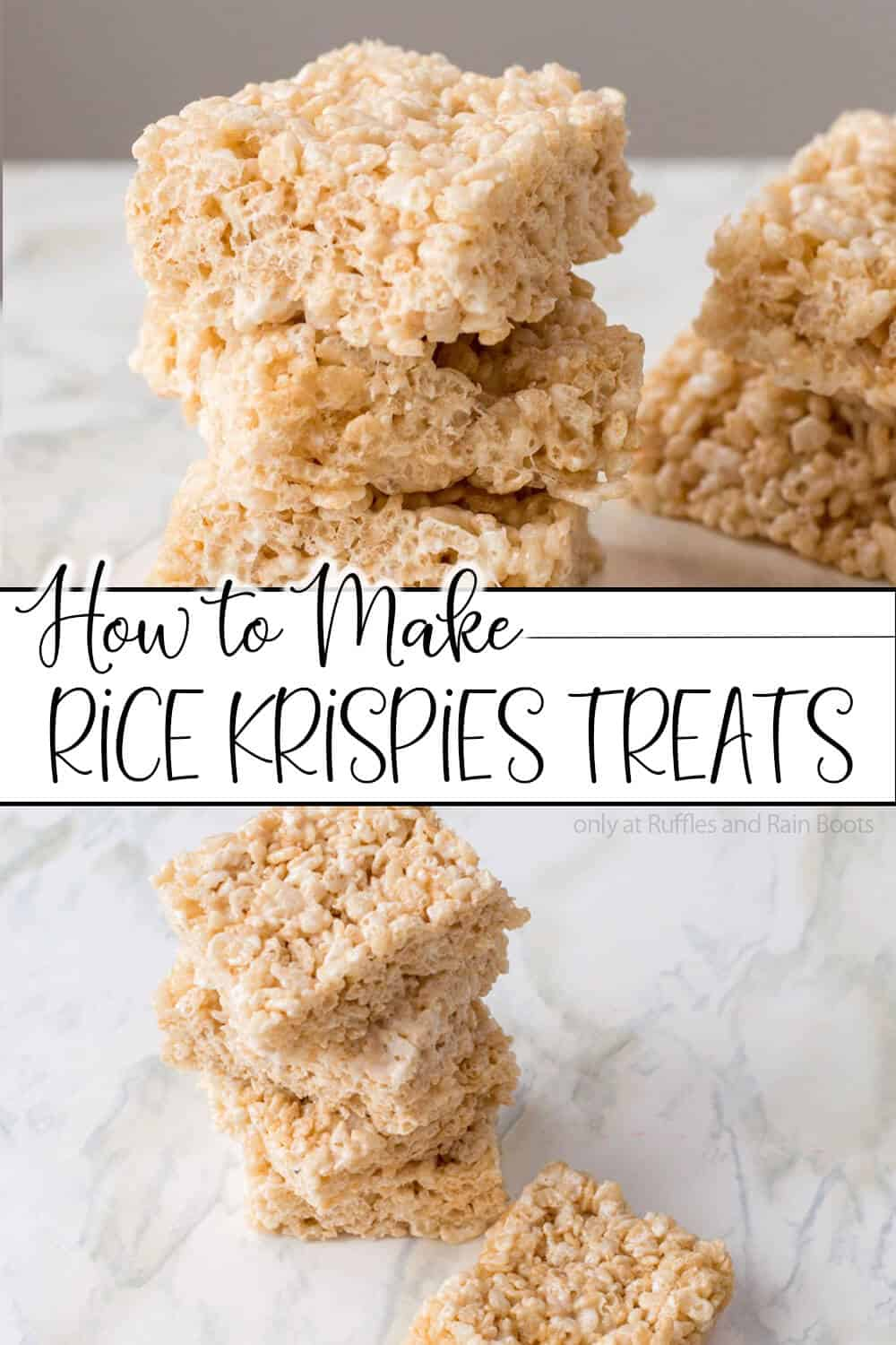 photo collage of easy rice crispy treats with text which reads how to make rice krispies treats