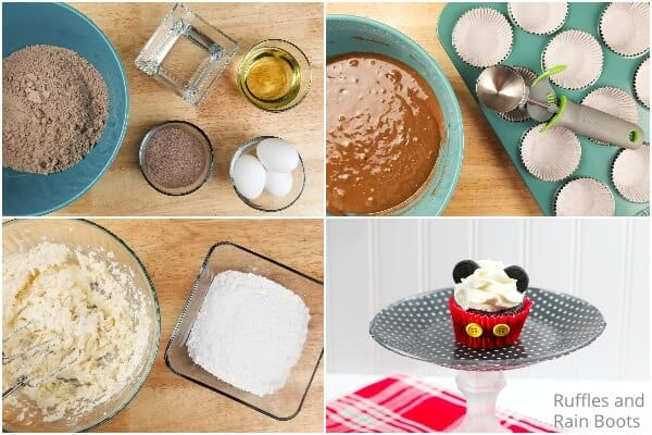 photo collage of how to make easy mickey mouse cupcakes