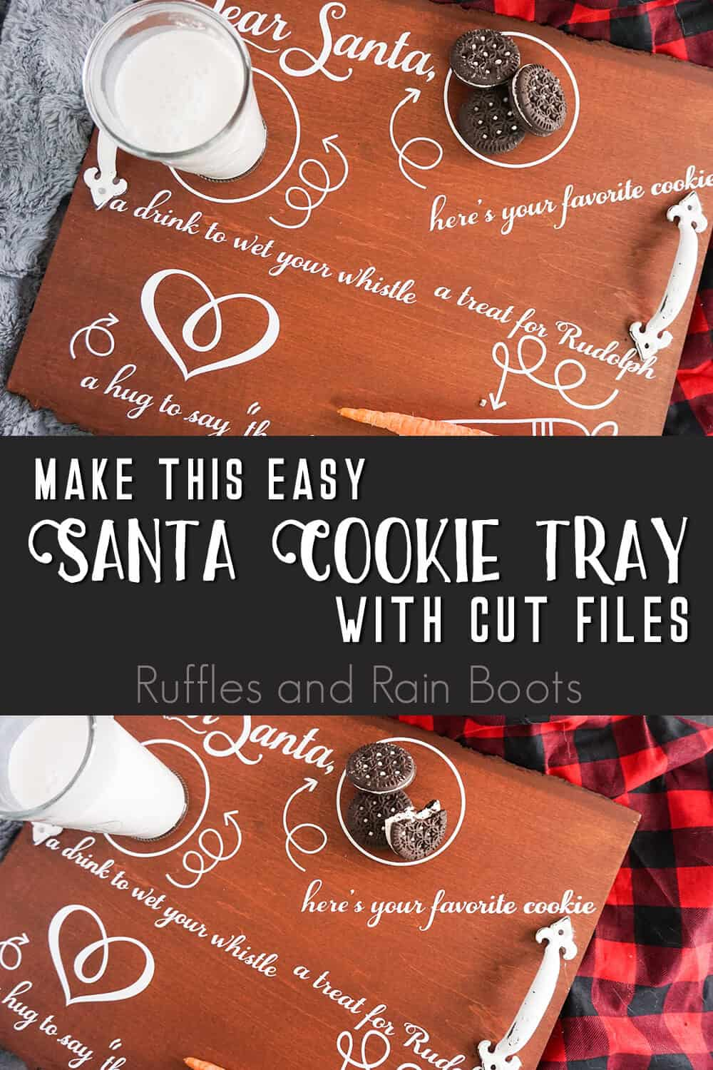 photo collage of santa cookie plate with text which reads make this easy santa cookie tray with cut files