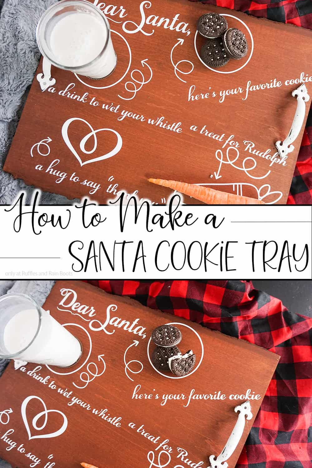 photo collage of easy diy santa plate with text which reads how to make a santa cooke tray