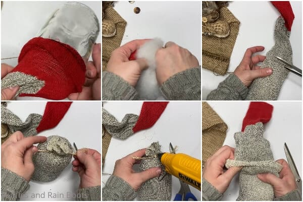 photo collage tutorial of how to make a gnome with boots