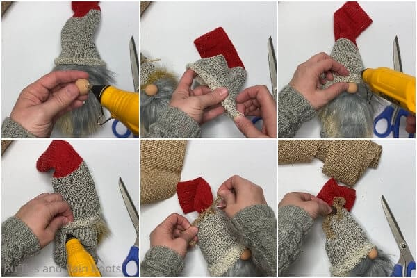 photo collage tutorial of how to make a farmhouse gnome with boots