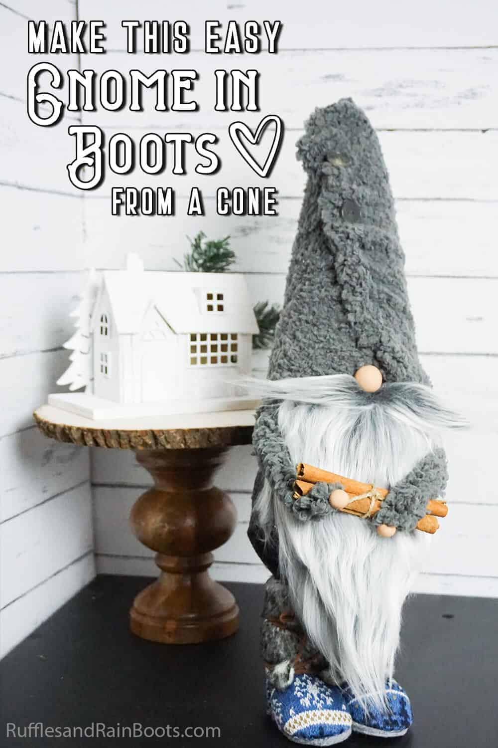 farmhouse gnome with a fleece hat and boots with text which reads make this easy gnome in boots from a cone
