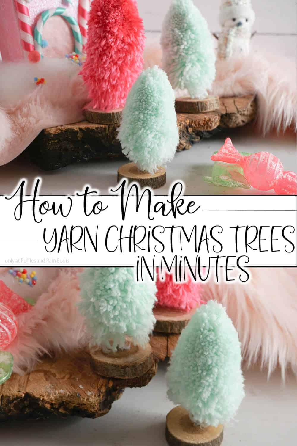 photo collage of three mini christmas trees with text which reads how to make yarn christmas trees in minutes